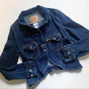 Levi's• dark medium wash denim blazer jacket